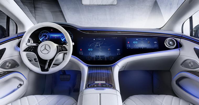 Mercedes Benz EQS interiör Småländska Bil